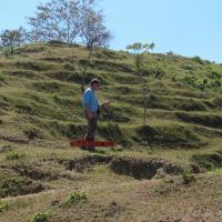 Collecting EM-38 Data across a Terraced Hillside