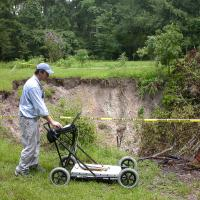 GPR data collection by a large sinkhole in Gainesville, Florida