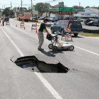 GPR survey by an active sinkhole beneath a road in Pinellas County, Florida