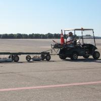 Dual Frequency GPR Survey across a taxiway of an Air Force base