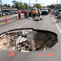 GPR survey by a sinkhole beneath a road in Pinellas County, Florida