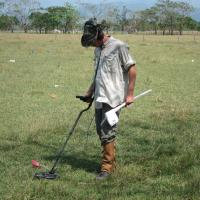 Using a hand held metal detector for shallow metallic artifacts