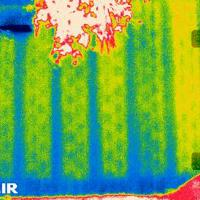 Thermal Image showing filled cells of a masonry block wall